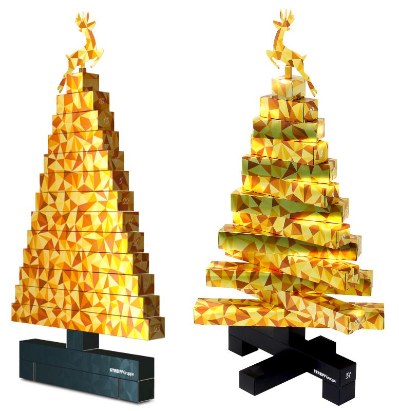 2D-3D-Adventskalender StreiffGruppe Maik Bermeitinger WorldStar Award 2021 gold flach und gedreht