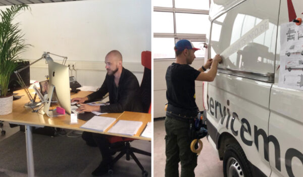Mediahouse Grafiker Benjamin Fastert und Werbetechniker Jan Rasmussen