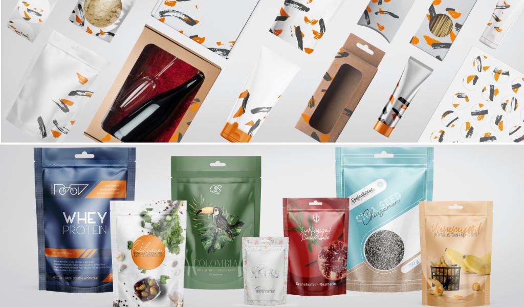 labelprint24 Tuben Faltschachteln Standbodenbeutel Flexible Verpackungen
